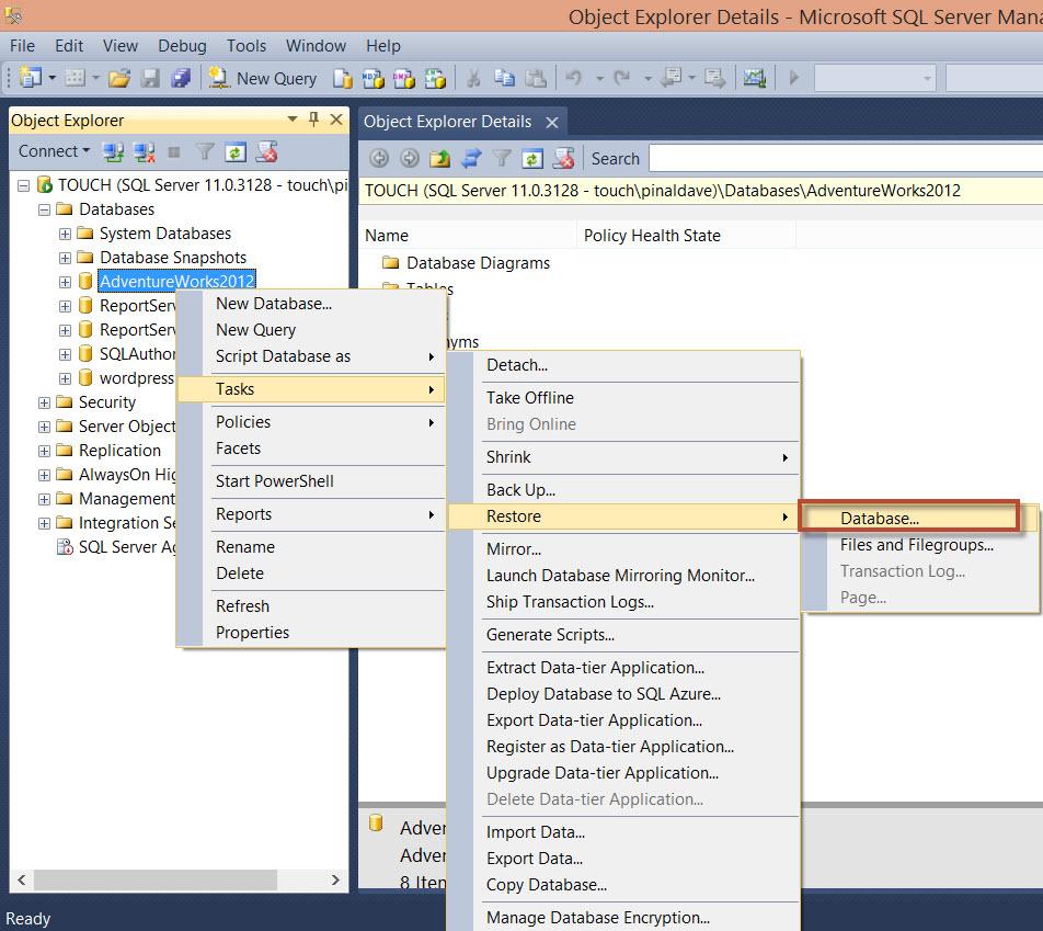 SQL SERVER - FIX : Error 3154: The backup set holds a backup of a database other than the existing database - SSMS 3154-1