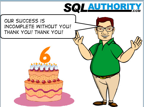 SQLAuthority News - 6th Anniversary and 50 Million Views and Over 2300 Blog Posts - Thank You Thank You 6thanniversary