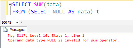 SQL SERVER - A Puzzle - Fun with NULL - Fix Error 8117 8117error