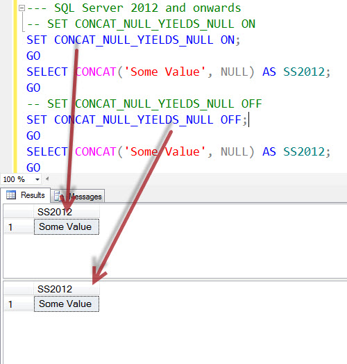 SQL SERVER - Interesting Observation of CONCAT_NULL_YIELDS_NULL and CONCAT in SQL Server 2012 onwards CONCAT_NULL_YIELDS_NULL2
