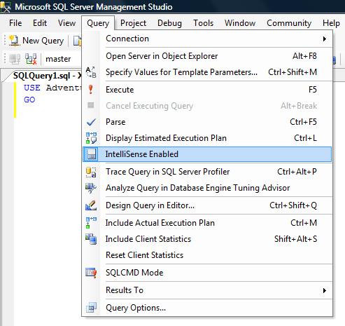 SQL SERVER - 2008 - IntelliSense Does Not Work - Enable IntelliSense Int2a