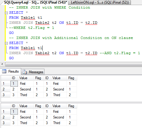 SQL SERVER - Interesting Observation of ON Clause on LEFT JOIN - How ON Clause affects Resultset in LEFT JOIN  LeftJoinON1