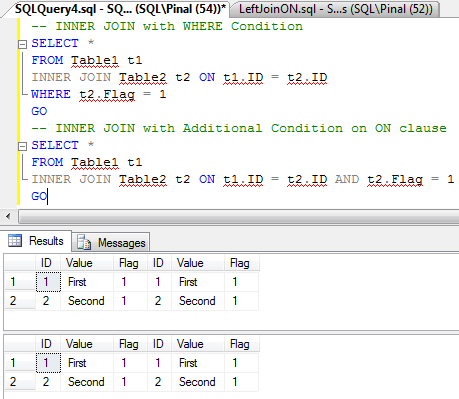 SQL SERVER - Interesting Observation of ON Clause on LEFT JOIN - How ON Clause affects Resultset in LEFT JOIN  LeftJoinON2