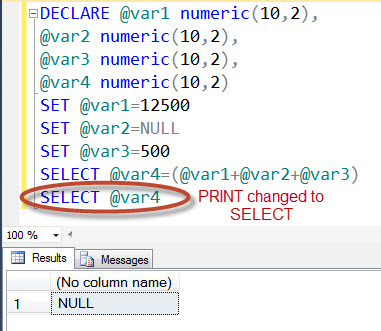 SQL SERVER - SSMS does NOT Print NULL Values NullDisplay3