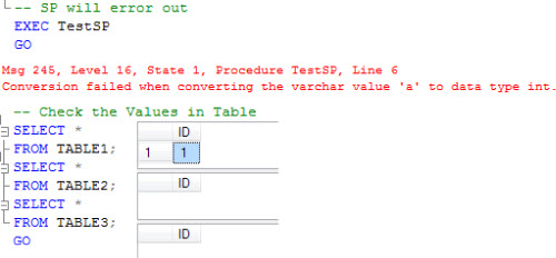 SQL SERVER - Stored Procedure and Transactions SPTran1
