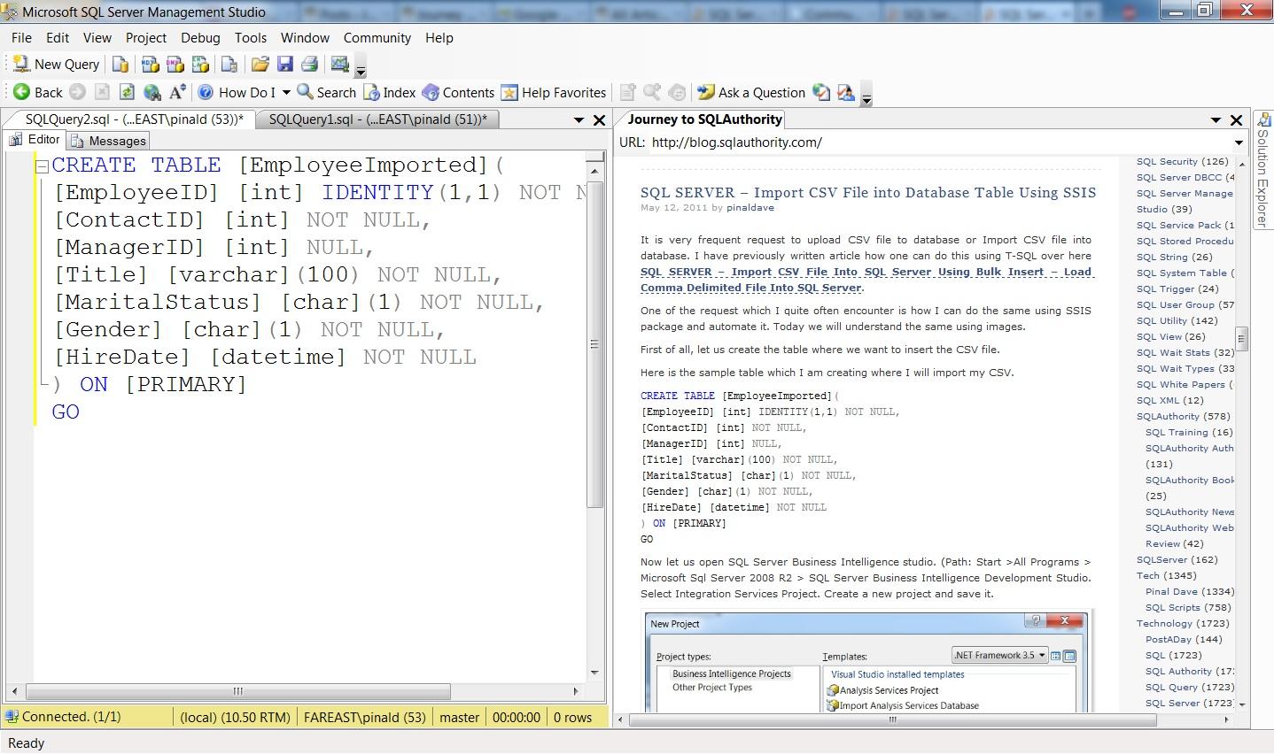SQL SERVER - Management Studio and Browser in Same Application - SSMS Browser SSMS-Browser