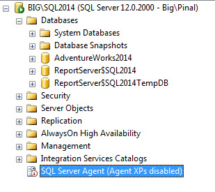 SQL SERVER - Fix - Agent Starting Error 15281 - SQL Server blocked access to procedure 'dbo.sp_get_sqlagent_properties' of component 'Agent XPs' because this component is turned off as part of the security configuration for this server agenterror1