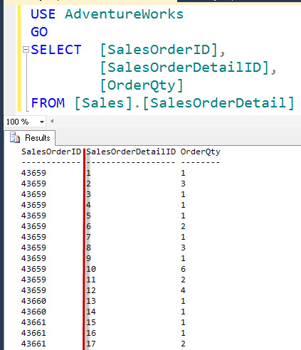SQL SERVER - Right Aligning Numerics in SQL Server Management Studio (SSMS) aligncol1