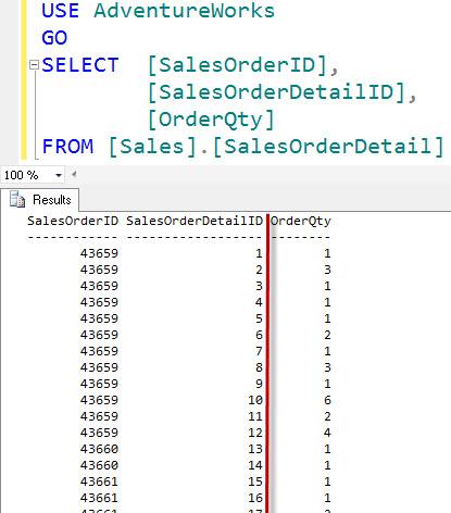 SQL SERVER - Right Aligning Numerics in SQL Server Management Studio (SSMS) aligncol3