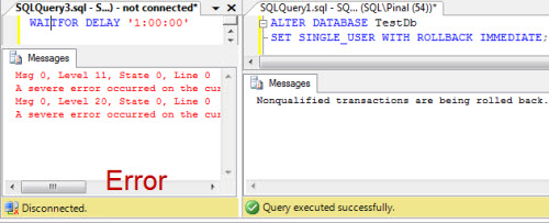 SQL SERVER - Difference Between ROLLBACK IMMEDIATE and WITH NO_WAIT during ALTER DATABASE alterdb2