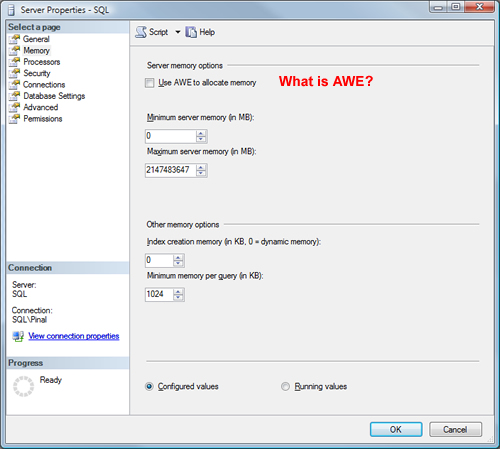 SQL SERVER - AWE (Address Windowing Extensions) Explained in Simple Words awe