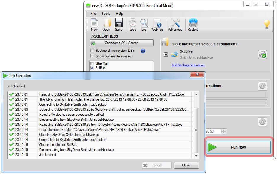 SQL SERVER - Simple Trick to Backup Azure Database with SkyDrive azurebackup7