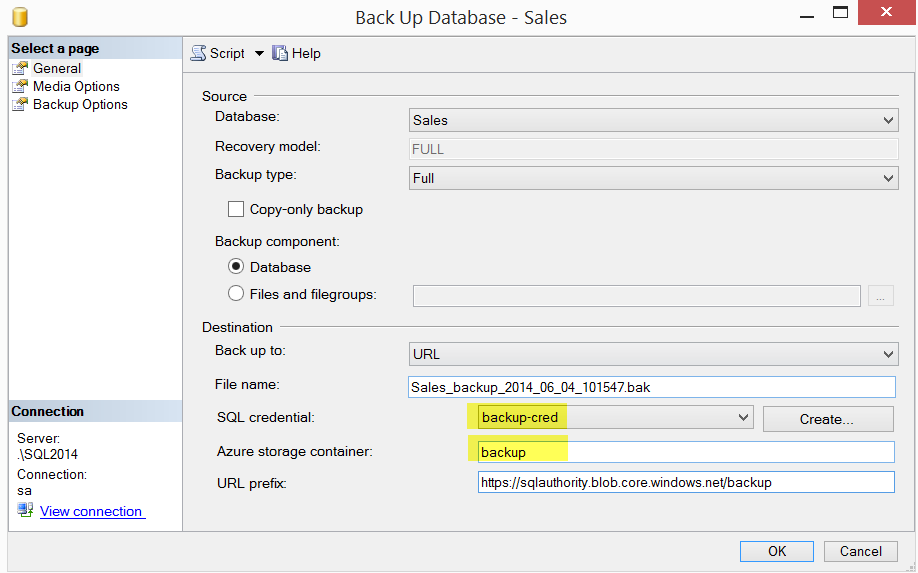 SQL SERVER - Backup to Azure Blob using SQL Server 2014 Management Studio azurebackups7