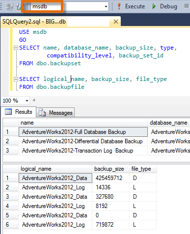 SQL SERVER - Error: Fix - Msg 208 - Invalid object name 'dbo.backupset' - Invalid object name 'dbo.backupfile' backupfileerror1