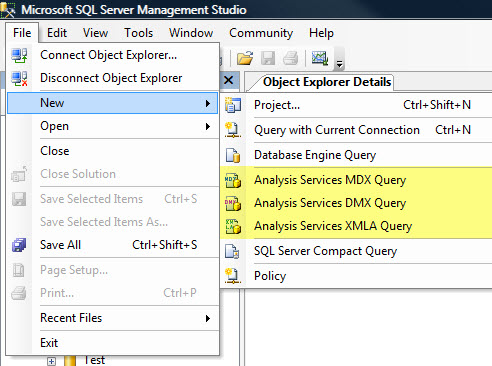 SQL SERVER - Languages for BI - MDX, DMX, XMLA bilang