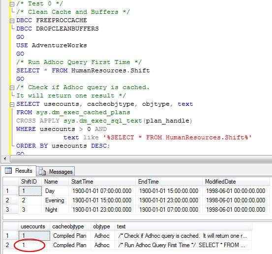 SQL SERVER - 2008 - Optimize for Ad hoc Workloads - Advance Performance Optimization cachetest0