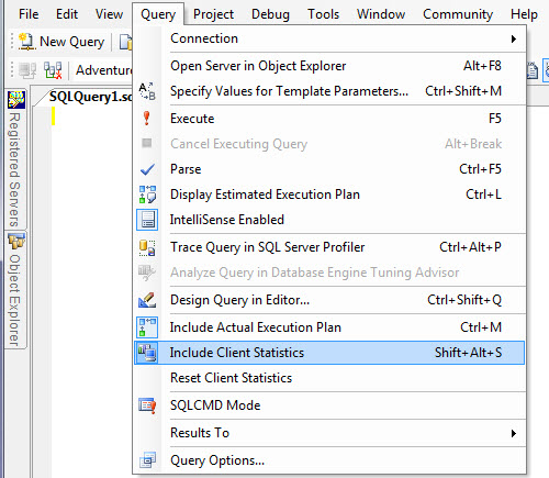 SQL SERVER - SQL Server Management Studio and Client Statistics clientstats1