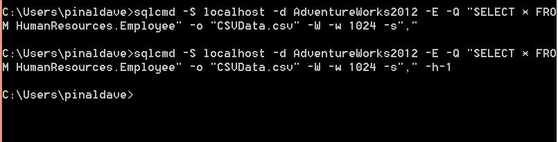 SQL SERVER - Export Data AS CSV from Database Using SQLCMD cmdsql