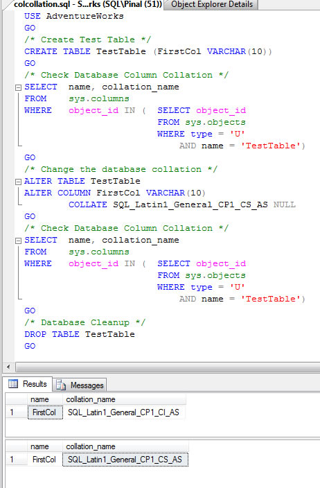 SQL SERVER - Change Collation of Database Column - T-SQL Script colcollation