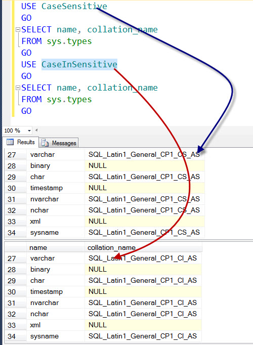 SQL SERVER - Creating Database with Different Collation on Server collation-is-cs