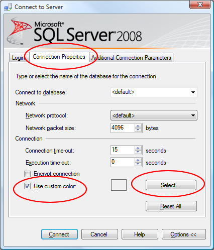 SQL SERVER - 2008 - Change Color of Status Bar of SSMS Query Editor color2