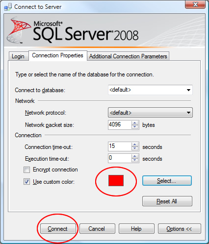 SQL SERVER - 2008 - Change Color of Status Bar of SSMS Query Editor color4