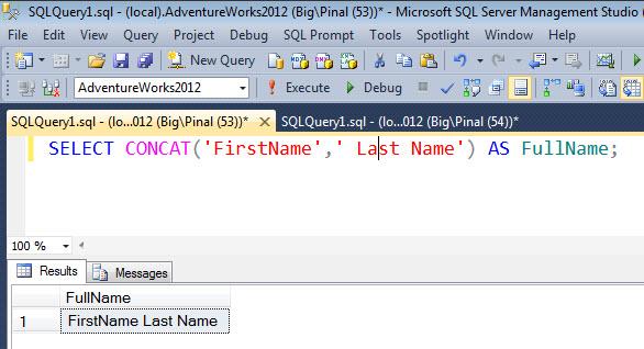 SQL SERVER - MySQL - PostgreSQL - How to Concat Strings? concatsqlserver