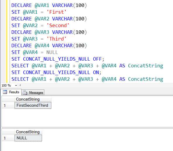 SQL SERVER - A Quick Note on CONCAT_NULL_YIELDS_NULL concatstring1