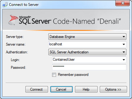 SQL SERVER - 'Denali' - A Simple Example of Contained Databases contained1
