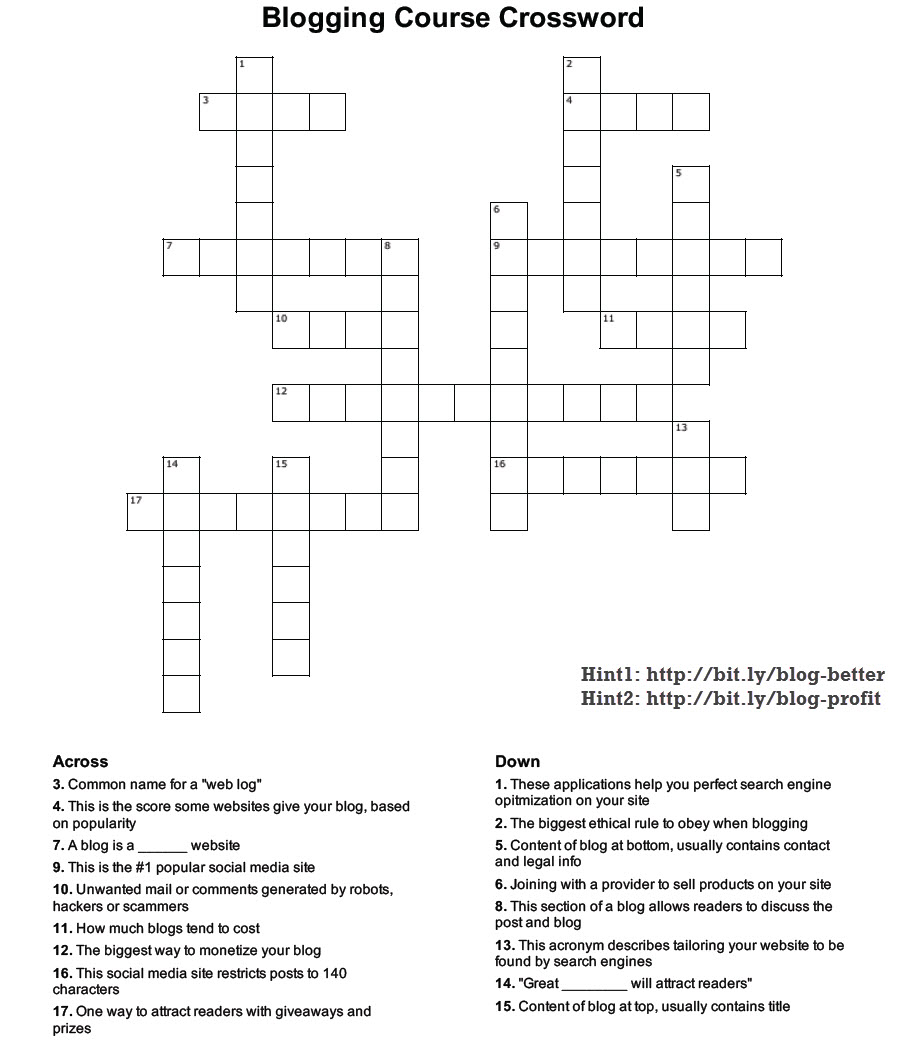 SQL - Crossword Puzzle Based on Course Building Successful High Traffic Profitable Blog crossword