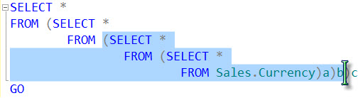 SQL SERVER - CTRL+SHIFT+] Shortcut to Select Code Between Two Parenthesis cursor1