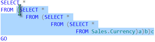 SQL SERVER - CTRL+SHIFT+] Shortcut to Select Code Between Two Parenthesis cursor3