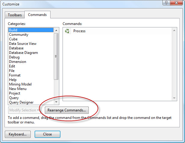 SQL SERVER - 2008 - Customize Toolbar - Remove Debug Button from Toolbar cust3