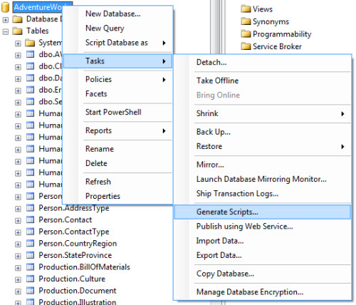 SQL SERVER - 2008 - Copy Database With Data - Generate T-SQL For Inserting Data From One Table to Another Table data1