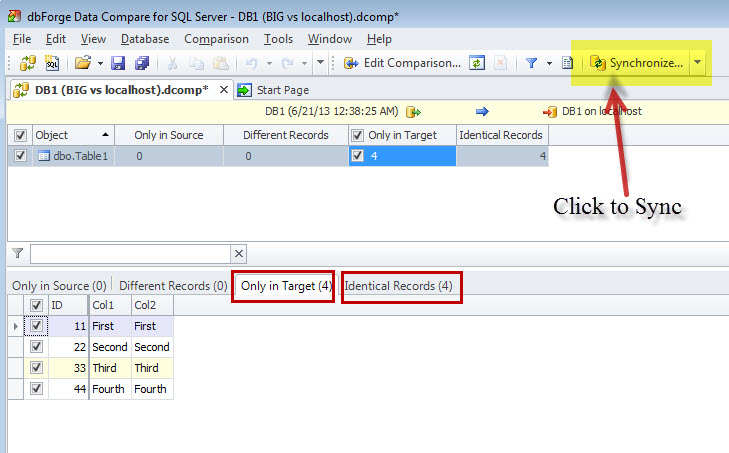 SQL SERVER - An Efficiency Tool to Compare and Synchronize SQL Server Databases datacomp4