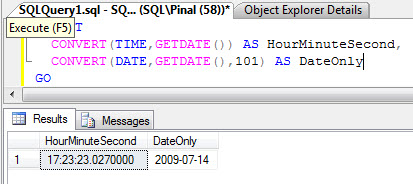 SQL SERVER - Get Time in Hour:Minute Format from a Datetime - Get Date Part Only from Datetime datetime2008