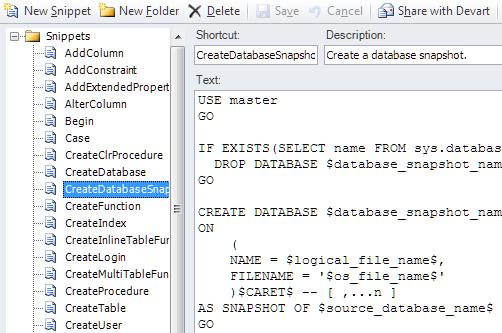 SQL SERVER - Development Productivity Tool - dbForge Studio for SQL Server snippet-manager