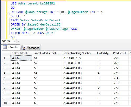 SQL SERVER - Server Side Paging in SQL Server Denali - A Better Alternative denalipaging