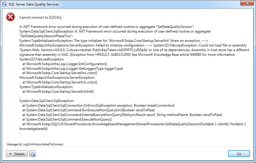 SQL SERVER - DQS Error - Cannot connect to server - A .NET Framework error occurred during execution dqserror