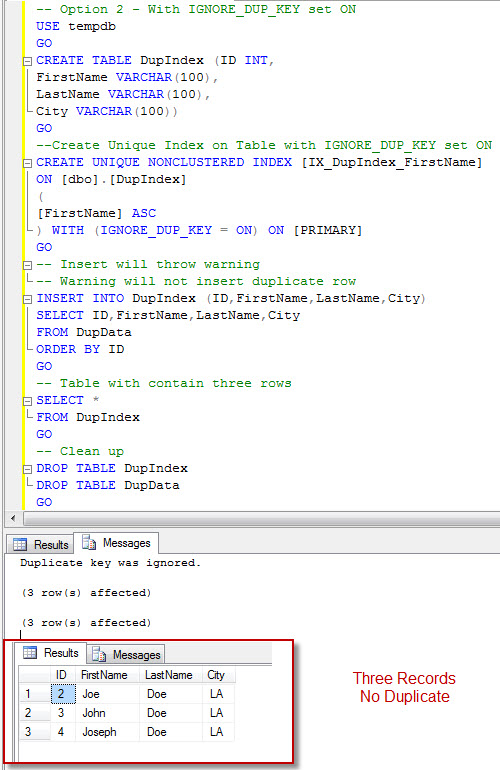 SQL SERVER - Unique Nonclustered Index Creation with IGNORE_DUP_KEY = ON - A Transactional Behavior duptr3