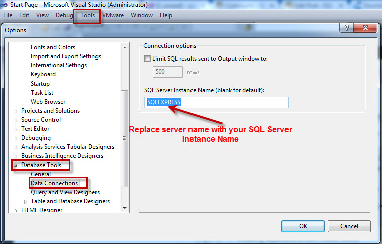 SQL SERVER - Fix Visual Studio Error : Connections to SQL Server files (.mdf) require SQL Server Express 2005 to function properly. Please verify the installation of the component or download from the URL efforofVS