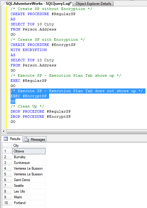 SQL SERVER - Stored Procedure WITH ENCRYPTION and Execution Plan encryptSP