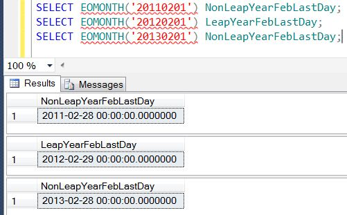 SQL SERVER - Denali - Date and Time Functions - EOMONTH() - A Quick Introduction eomonth2