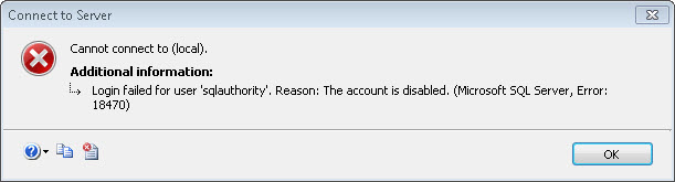 SQL SERVER - Year End Brain Teaser - Disabled Login and Associated User Without Disabled User Red Arrow error18470
