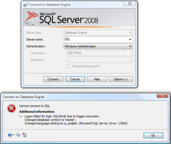 SQL SERVER - Fix : Error : 17892 Logon failed for login due to trigger execution. Changed database context to 'master'. errortrigger