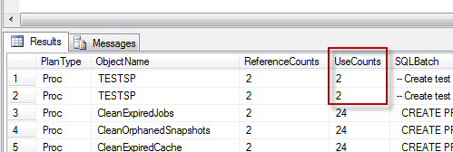SQL SERVER - Plan Caching and Schema Change - An Interesting Observation exusecount