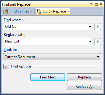 SQL SERVER - Replace a Column Name in Multiple Stored Procedure All Together findreplace1