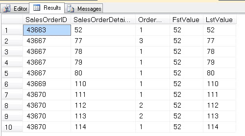 SQL SERVER - OVER clause with FIRST _VALUE and LAST_VALUE  - Analytic Functions Introduced in SQL Server 2012 - ROWS BETWEEN UNBOUNDED PRECEDING AND UNBOUNDED FOLLOWING firstvalue1