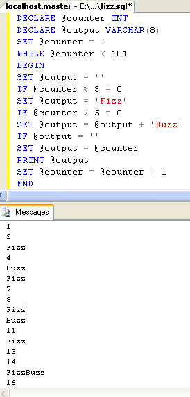 SQL SERVER - T-SQL Script for FizzBuzz Logic fizzbuzz