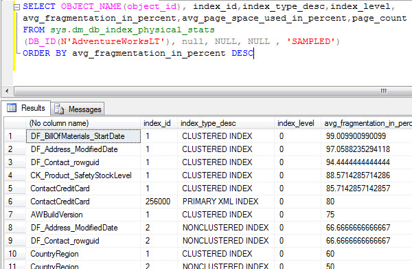 SQL SERVER - Fragmentation - Detect Fragmentation and Eliminate Fragmentation frag3